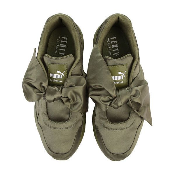 The Puma x Fenty by Rihanna Bow Sneaker in Olive Branch (2,975 MXN) ❤ liked on Polyvore featuring shoes, sneakers, olive green sneakers, puma trainers, olive green shoes, bow shoes and puma sneakers