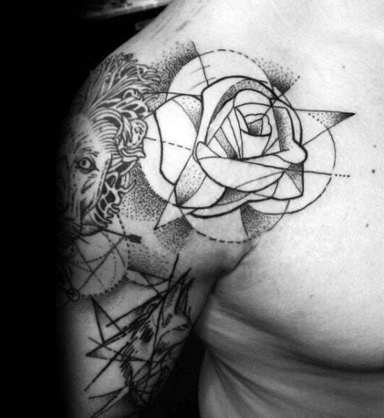 40 Geometric Rose Tattoo Designs For Men Flower Ink Ideas Mens Shoulder Tattoo Geometric Rose Tattoo Shoulder Tattoo