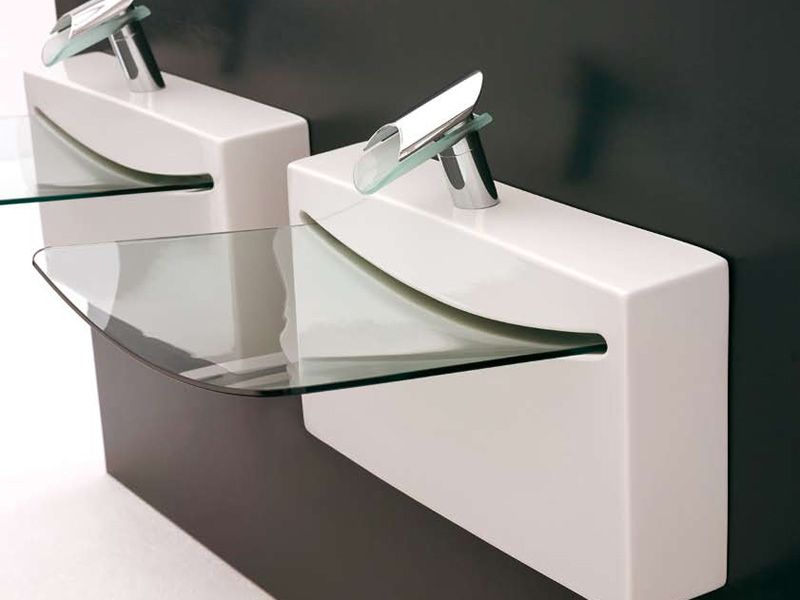 The Art Ceram Bathroom Sink Wall Mounted Sink Is An Italian Invention. It  Has A Space Age Feel With A Crystal Clear Glass Bathroom Sink That Drains  Water ...