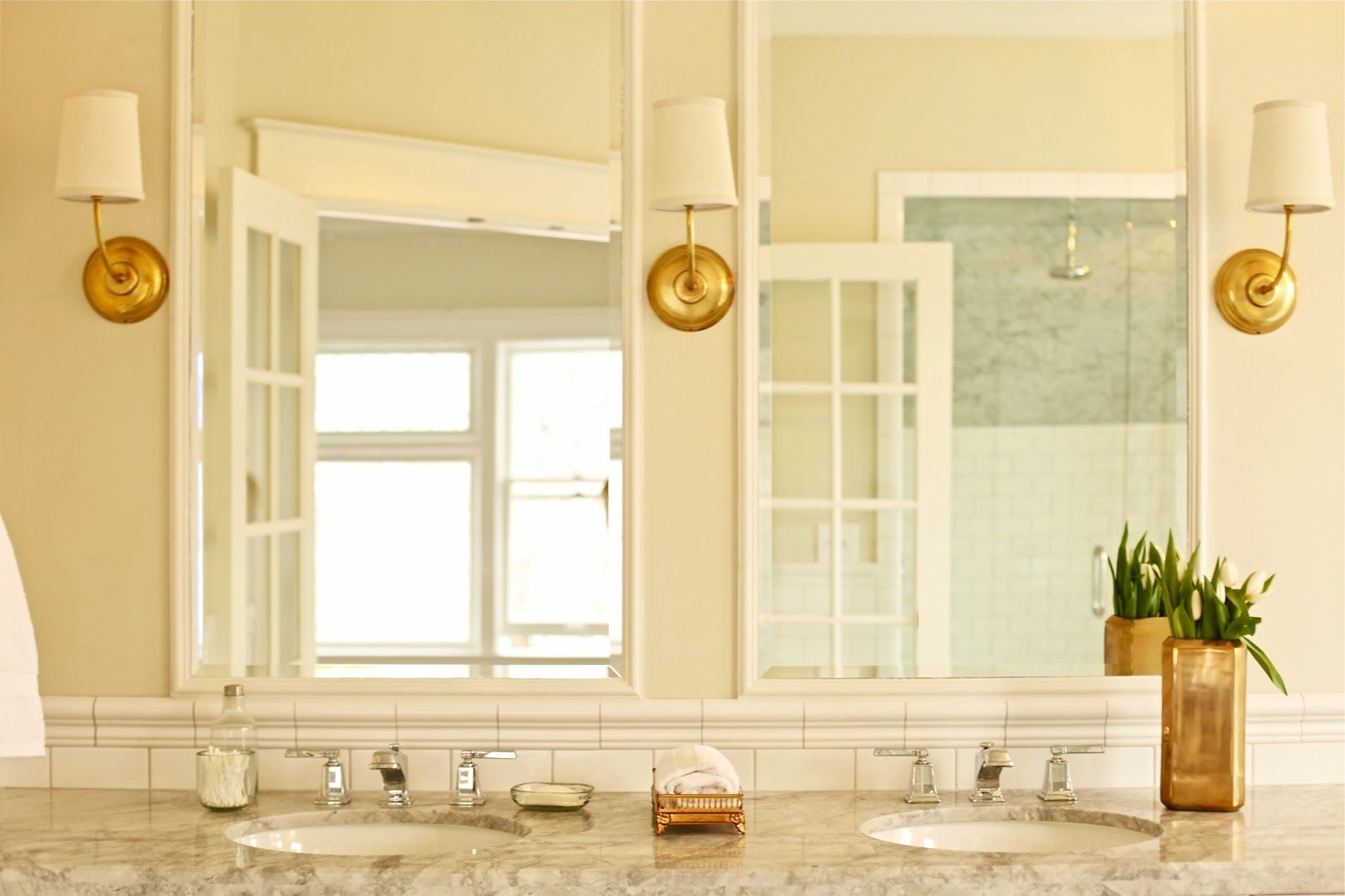 Bathroom Lighting Fixtures Gold white and gold bathroom ideas