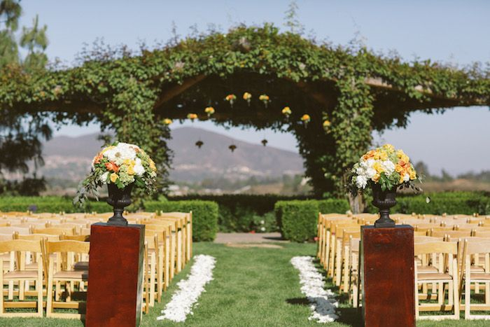 South Coast Winery Wedding Temecula California Citrus Colored Outdoor Ceremony Venue Organic