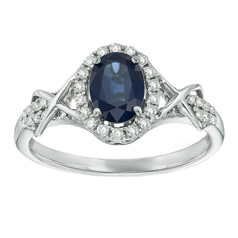 Sapphire Diamond Halo Ring In 10k White Gold Halo Diamond Ring Blue Sapphire Diamond Ring Oval Sapphire Ring