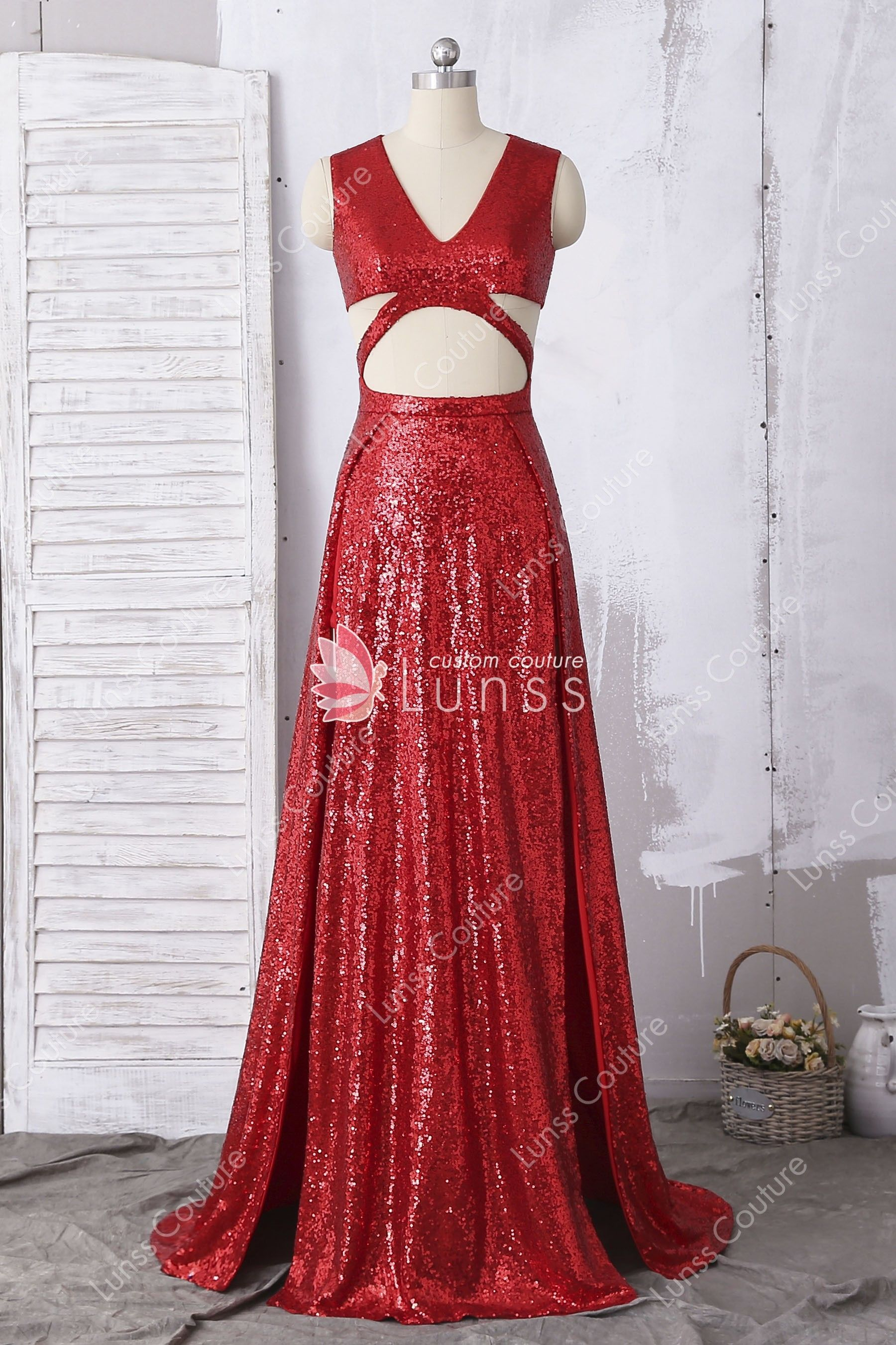 1747f3d3cf0 Unique Sparkly Sleeveless V-neck Cutout High Slits Red Sequin A-line Prom  Dress