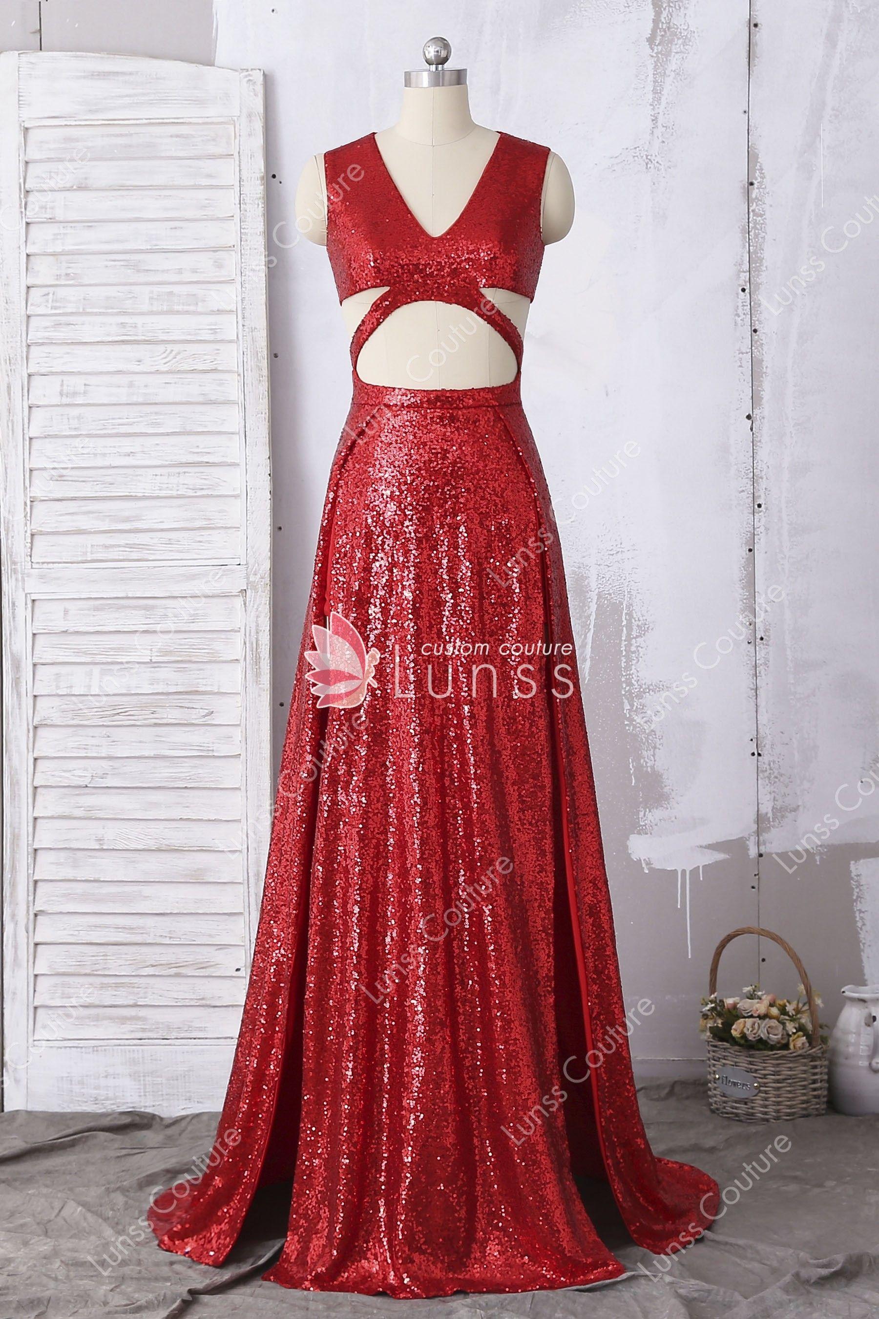 36e14f94f40 Unique Sparkly Sleeveless V-neck Cutout High Slits Red Sequin A-line Prom  Dress
