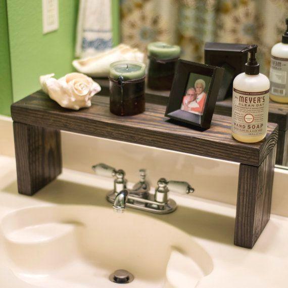 Photo of Rustic Wood Shelf, Bathroom Sink Shelf, Moden Farmhouse bathroom Decor, Plant Shelf, Wood Plant Stand, Countertop Shelf, Storage Shelf