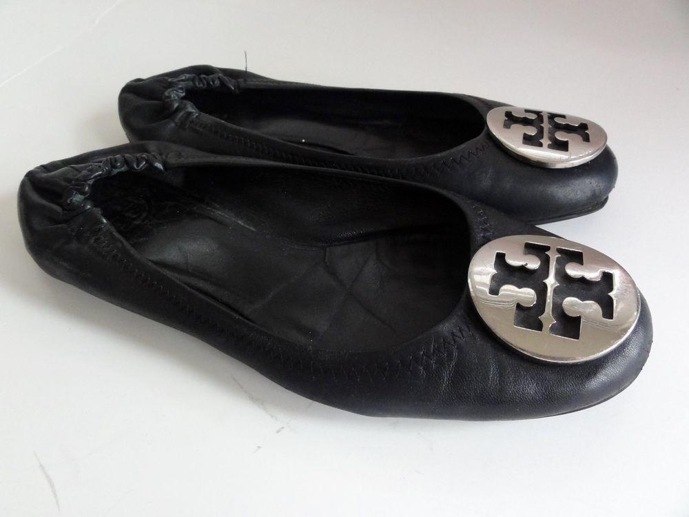 Tory Burch Reva Ballet flats shoes ladies size 7 M Black Logo