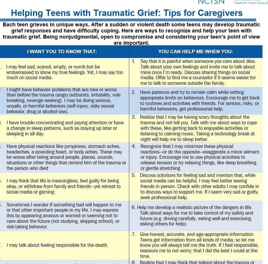 With Help for teens coping with grie