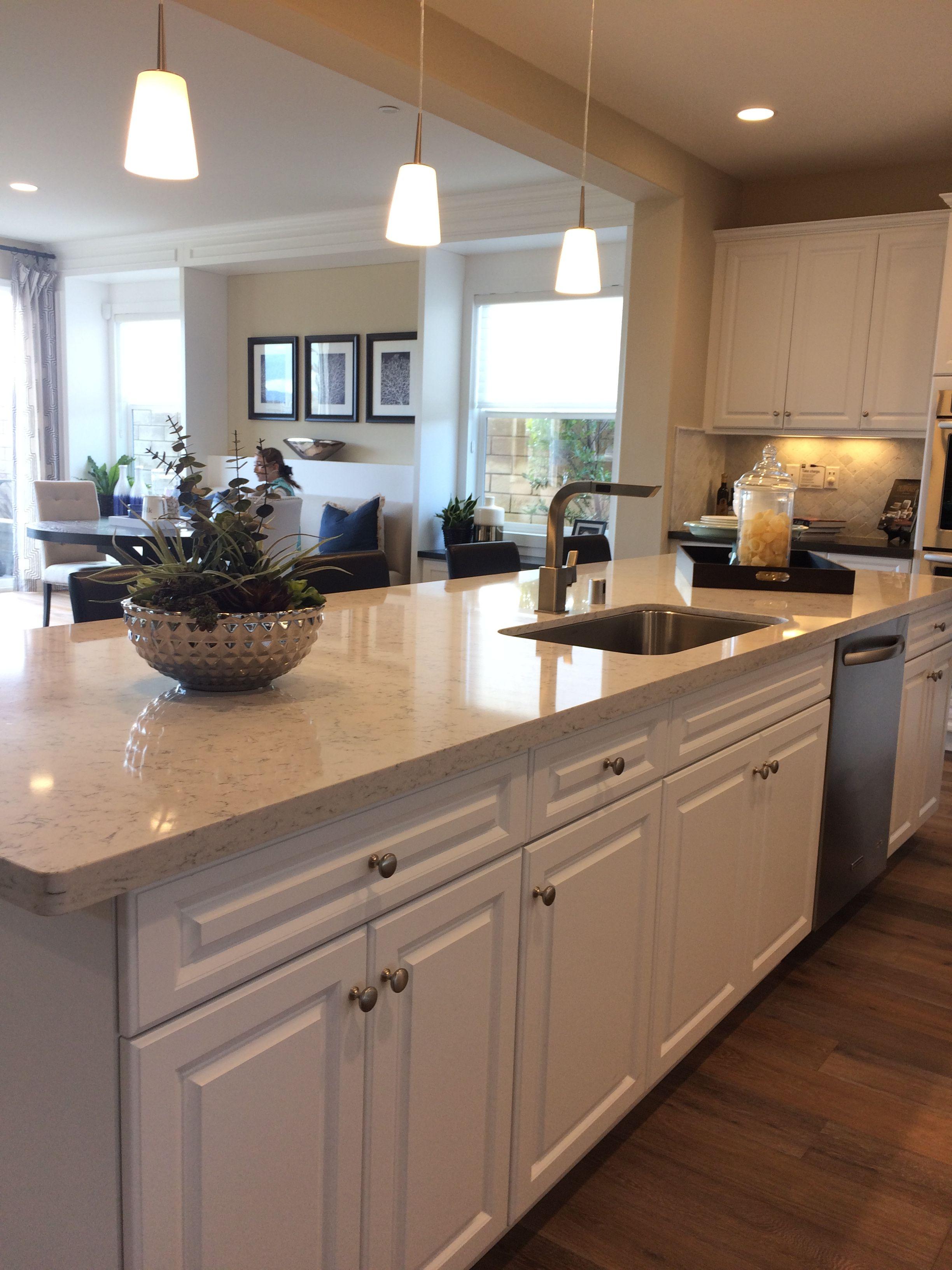 White Kitchen Cabinets, Quartz Countertop, Undermount