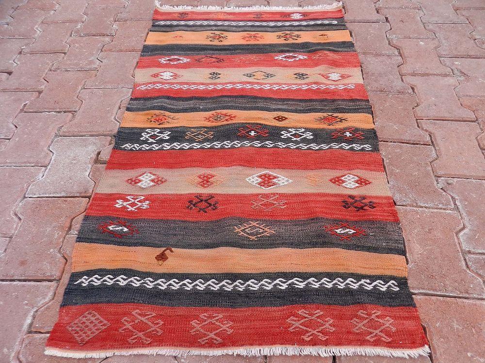 "Vintage Turkish Handwoven Kilim Rug 28"" x 48""  Vegetable Dyes Striped Kelim Rug #Turkish"