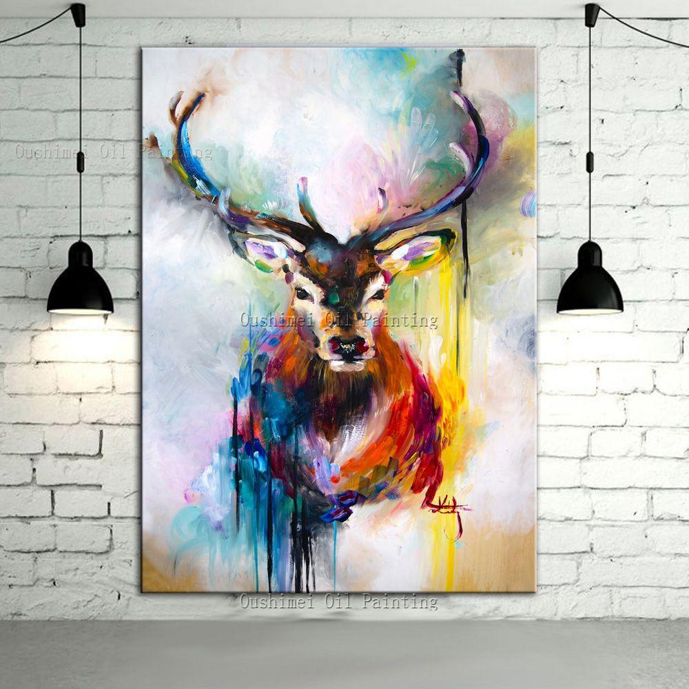 Favori Peint à la main couleur cerfs animaux peinture à l'huile accrocher  PW52