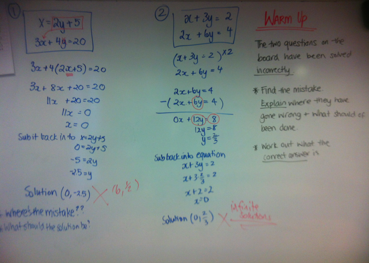 System of Equations - Wheres the mistake error analysis