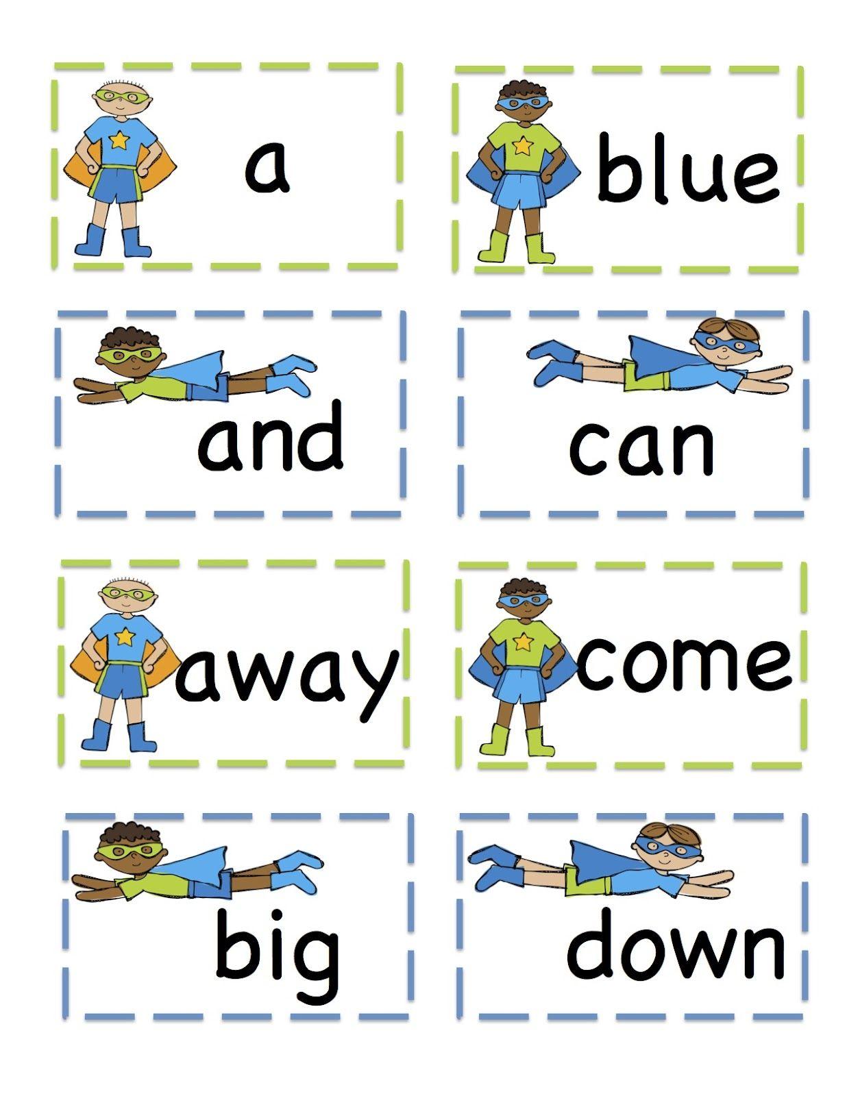 Boys Pre Primer Sight Words