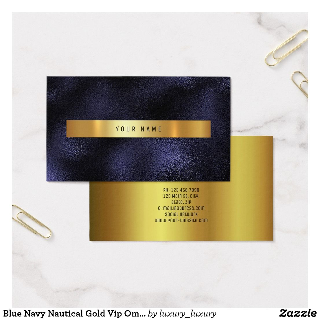Blue Navy Nautical Gold Vip Ombre Glitter Business Card | Business cards