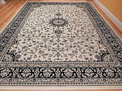New Traditional Area Rugs Persian Rug Ivory Black Cream For Living Room Prime Carpet