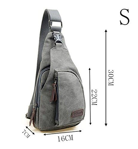 1e71ac2590 Amazon.com   Kalevel Cool Outdoor Sports Casual Canvas Unbalance Backpack  Crossbody Sling Bag Shoulder Bag Chest Bag for Men   Clothing