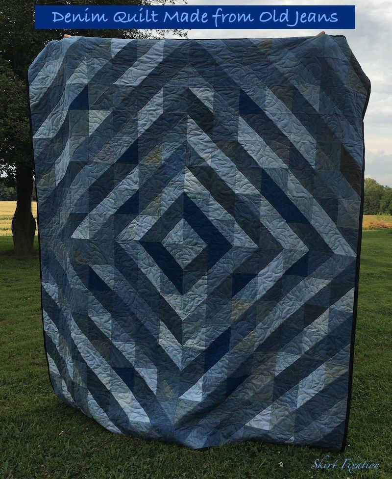 Denim quilt made by Skirt Fixation from old jeans - tutorial ... : denim quilts pinterest - Adamdwight.com