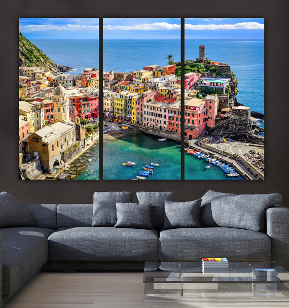 Absolutely Beautiful Cinque Terre Italy Coastline Village On Canvas