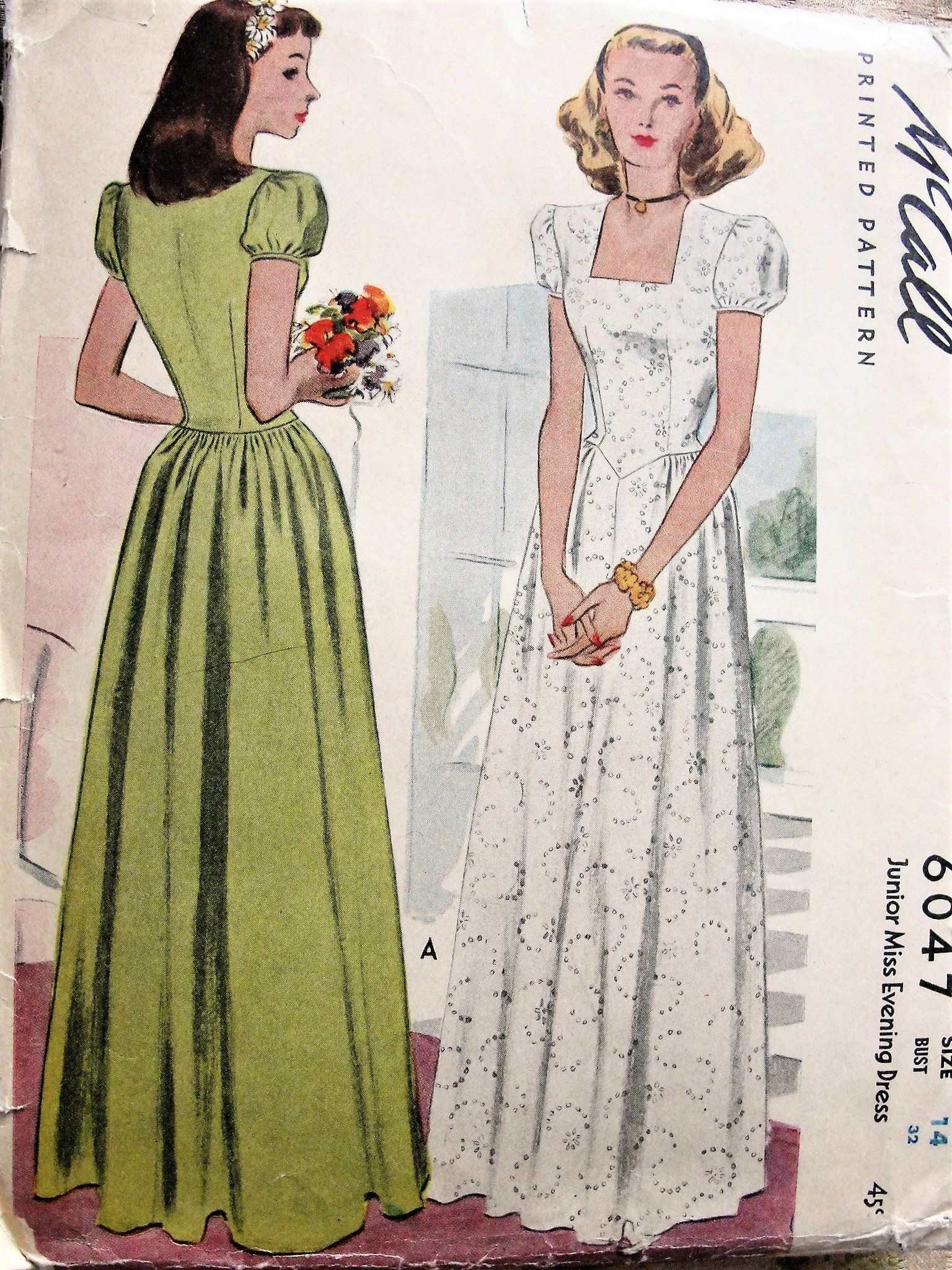 40s lovely prom or evening dress pattern mccall 6047