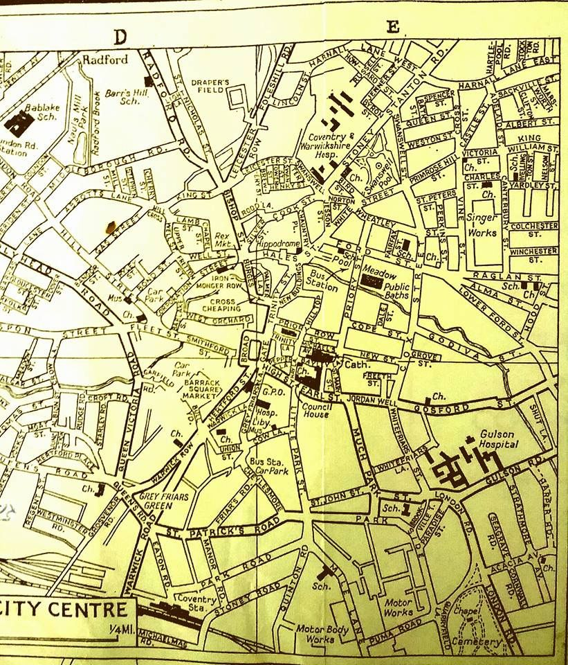 Map of Coventry 1950s coventry Pinterest Coventry