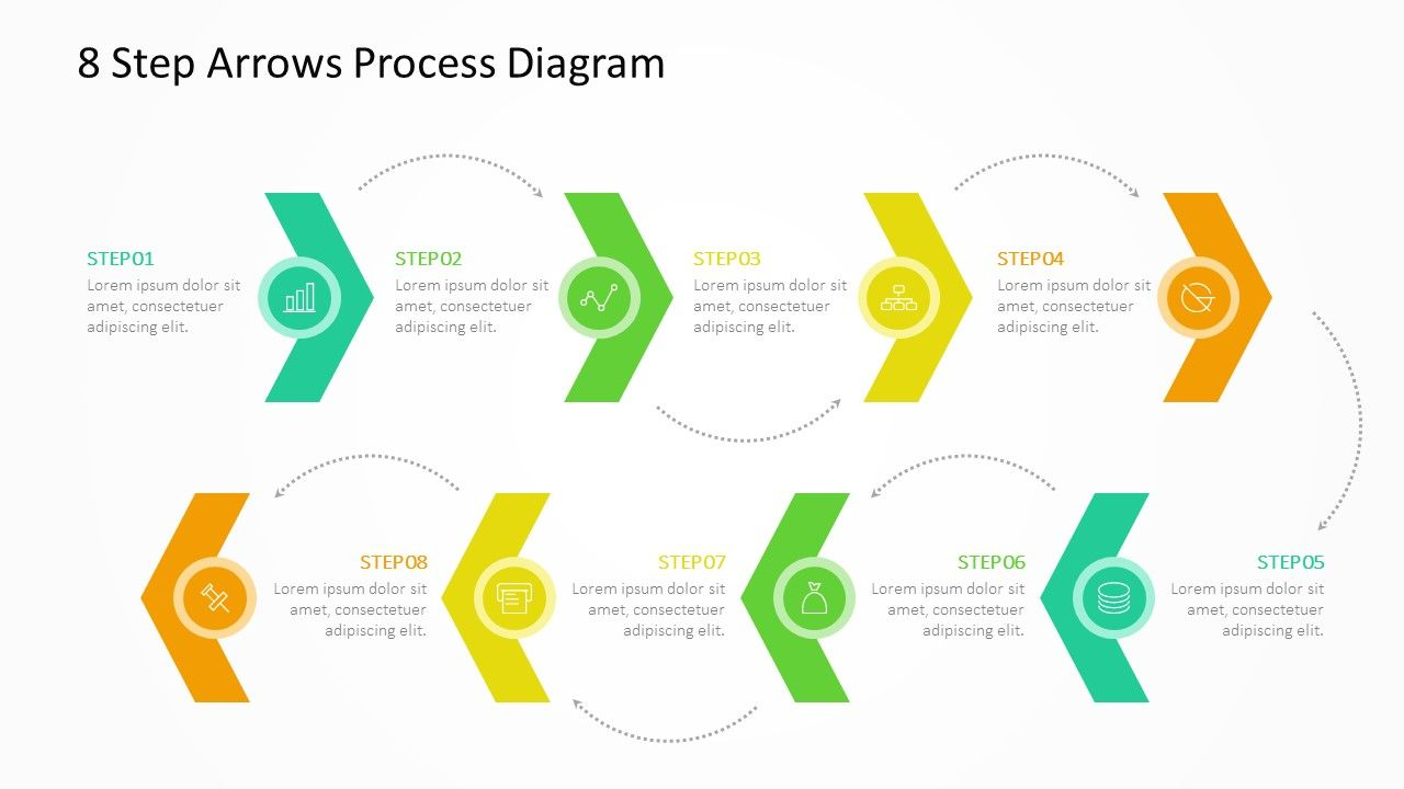 8 step arrows process diagram related powerpoint templates 8 stage