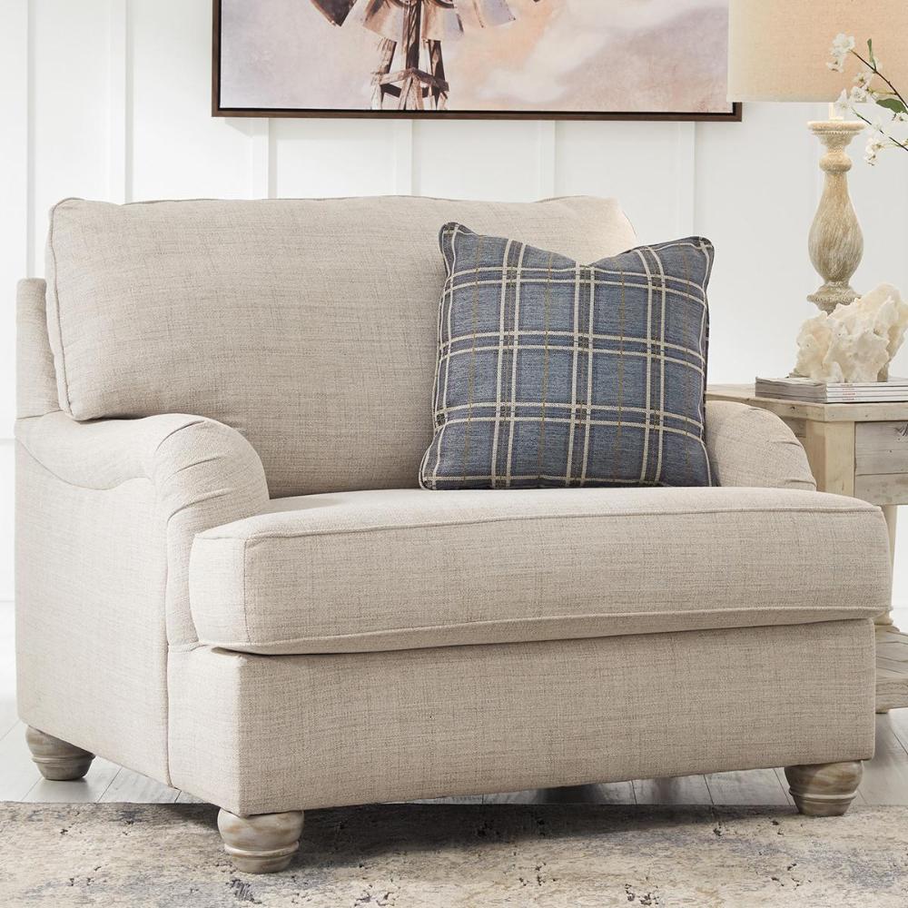 Signature Design By Ashley Traemore Chair And A Half In Linen Nebraska Furniture Mar In 2020 Cheap Living Room Furniture Transitional Living Room Furniture Furniture