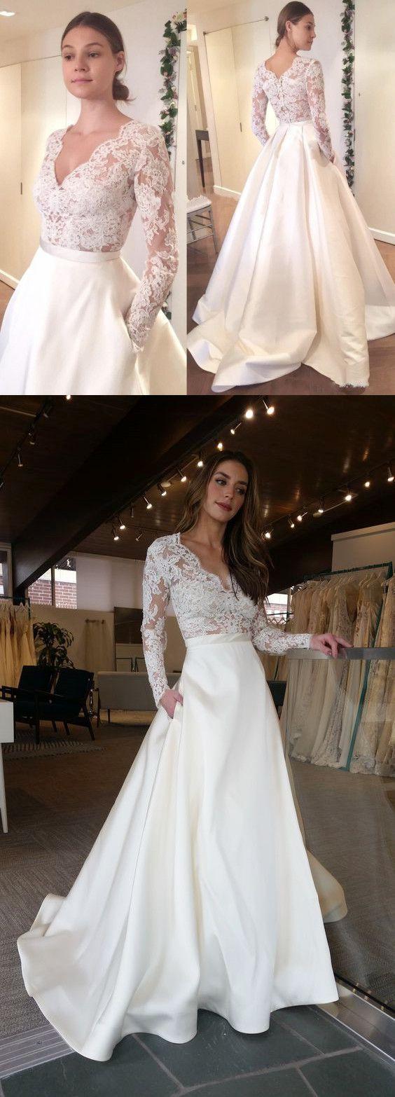 Elegant long sleeves vneck top lace simple long wedding dresses