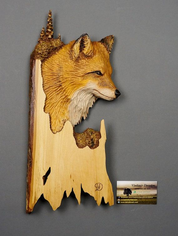 Fox Art Carved ,Wood Carving with Bark,Hand Made Gift,Wall Hanging ...