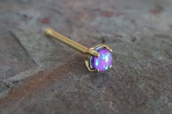 Purple Opal Gold Nose Ring Tiny Gold Nose Stud by MidnightsMojo