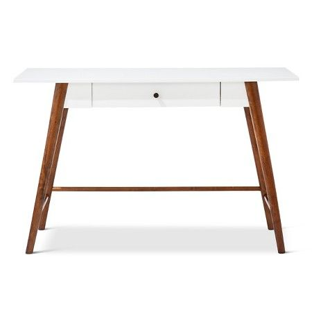 Best Amherst Mid Century Modern One Drawer Writing Desk White 400 x 300