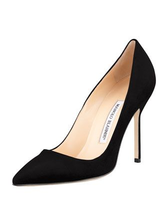 $595, Black Suede Pumps: Manolo Blahnik Bb Suede 105mm Pump Black. Sold by Neiman Marcus. Click for more info: https://lookastic.com/women/shop_items/79403/redirect