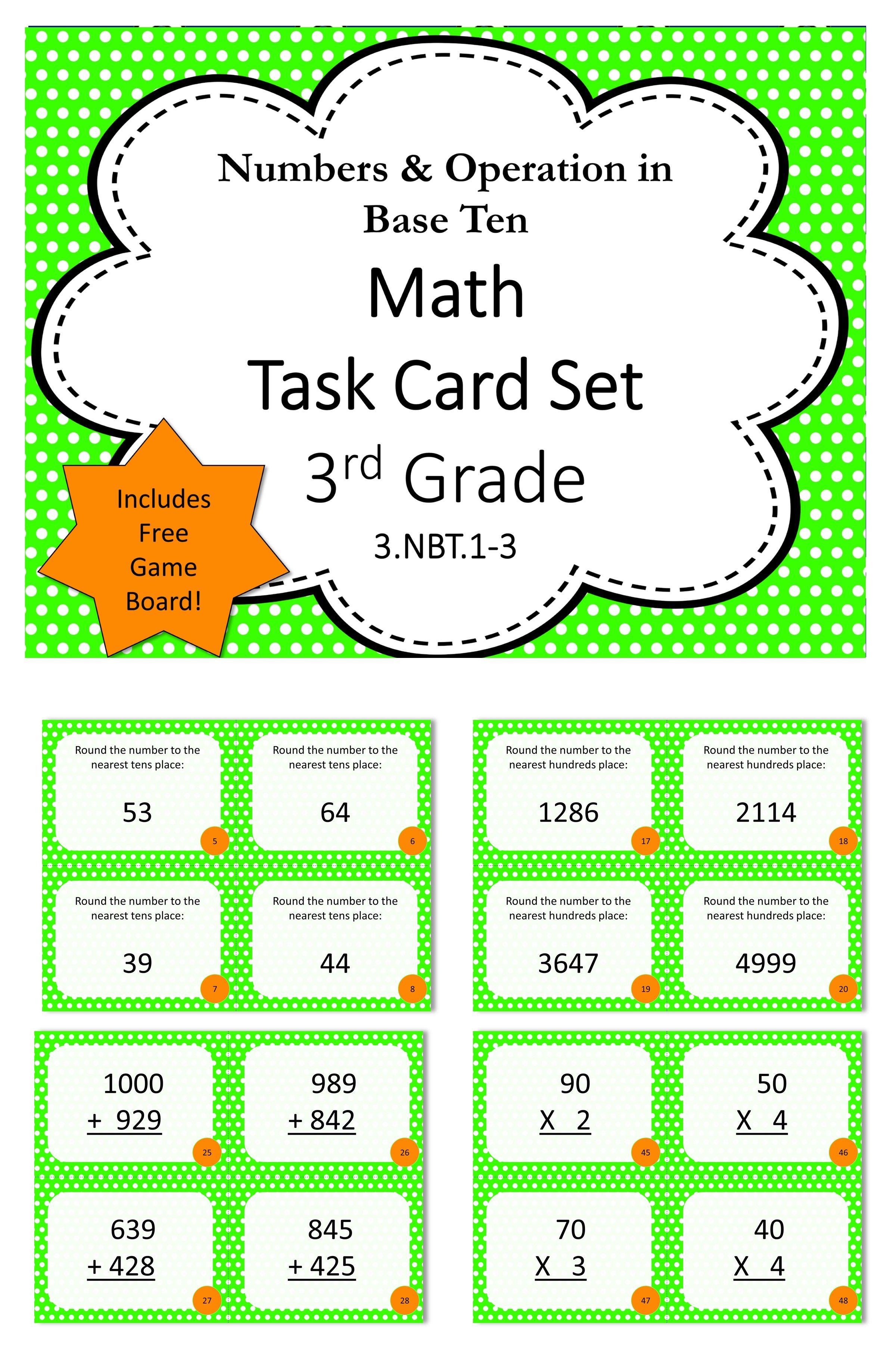 3rd Grade Base Ten Math Task Cards
