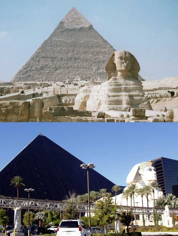 Luxor Hotel In Las Vegas Vs Great Pyramids Of Giza Las Vegas