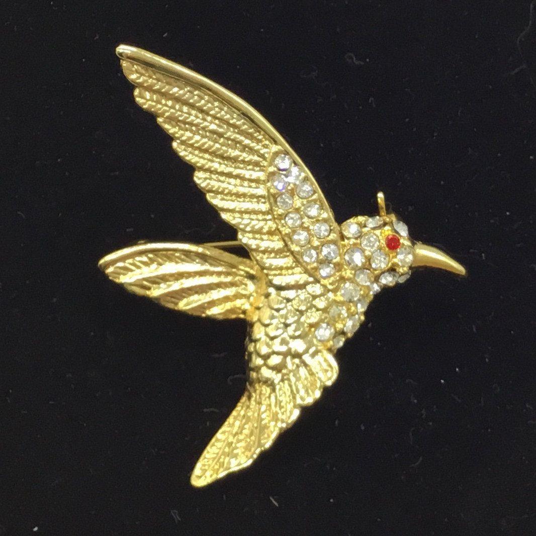 Vintage Hummingbird Crystal Rhinestone Bird Jewelry