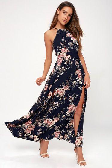 1f90b4c3a62 Feel the Music Navy Blue Floral Print Maxi Dress