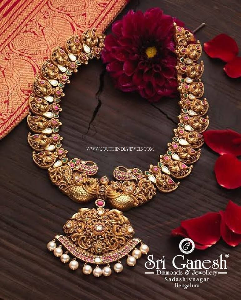 emerald set plated gm ad and vinayaka gold ruby index antique one full necklace