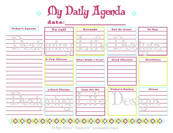 Daily Agenda Printable - Daily Planner Page - PDF To Do List ...