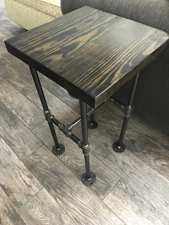 Industrial Pipe End Table Side Sofa Night Stand Diy Decor Rustic Home And Stain Wood Easy To Make O