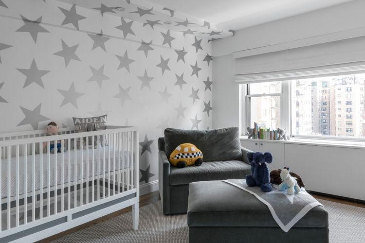 Babyzimmer Gestalten Geschlechtsneutral Graue Sterne Weisse Wand