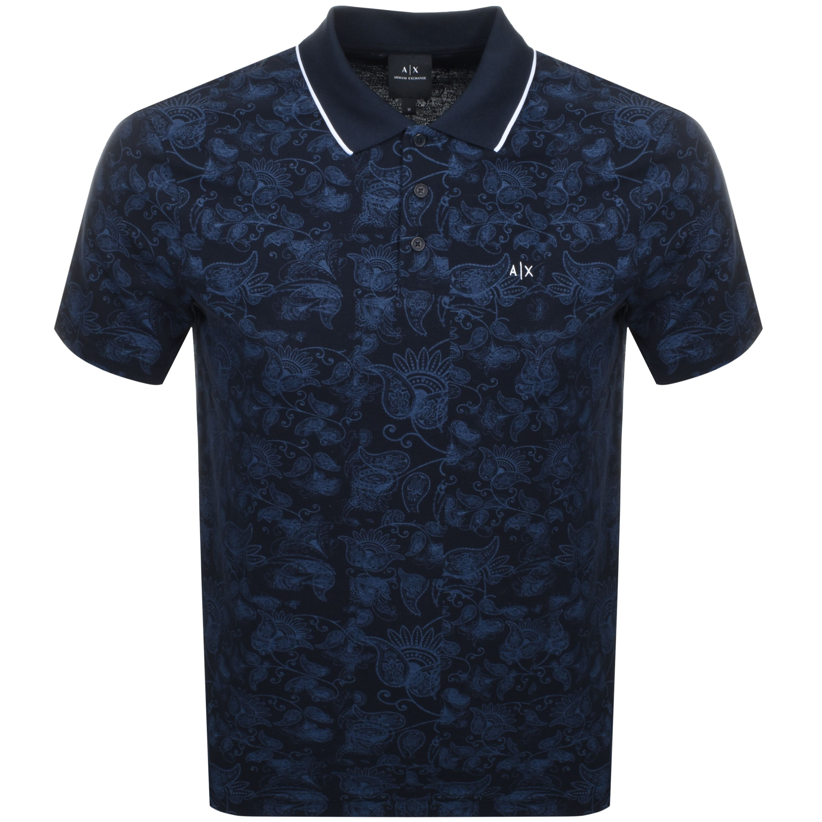 6e781502 ARMANI EXCHANGE PAISLEY POLO T SHIRT NAVY. #armaniexchange #cloth ...