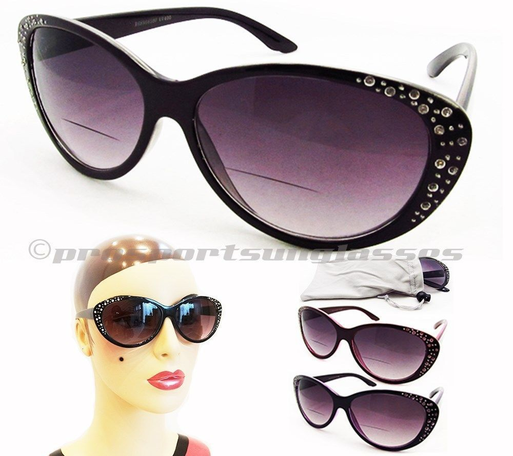 bddfb6e30a6 Bifocal Sunglasses Women Cateye Cat Eye Rhinestones in Clothing