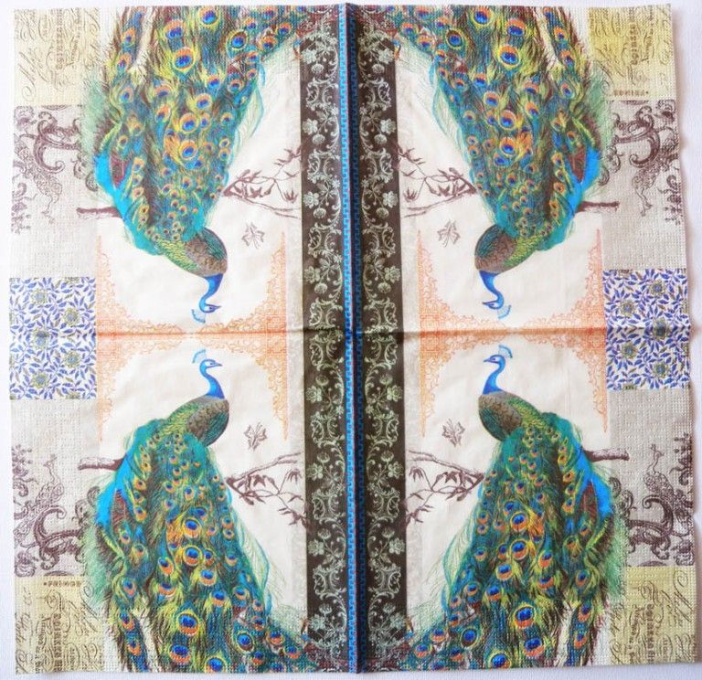 Decoupage Paper Napkins of Regnant Peacock | Decoupage Paper #papernapkins