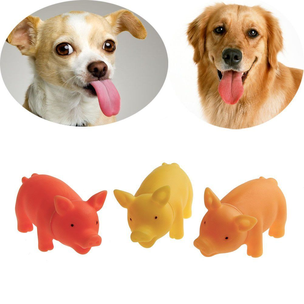 Delight Eshop Pet Puppy Chew Squeaker Squeaky Rubber Sound Pig For