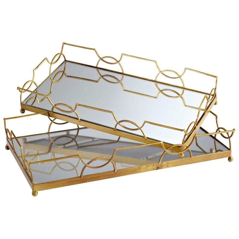 Cyan Design Nephrite Trays Nephrites 21.25 Inch Wide Iron Glass and Wood Tray Antique Gold Home Decor Accents Decorative Trays