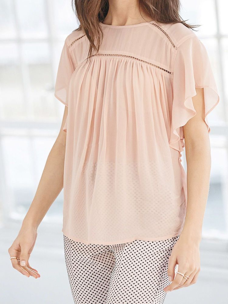 811b18490ef0d NEXT womens ladder trim blush pink ruffle sleeve pintucked top blouse SIZE  12  fashion  clothing  shoes  accessories  womensclothing  tops (ebay link)