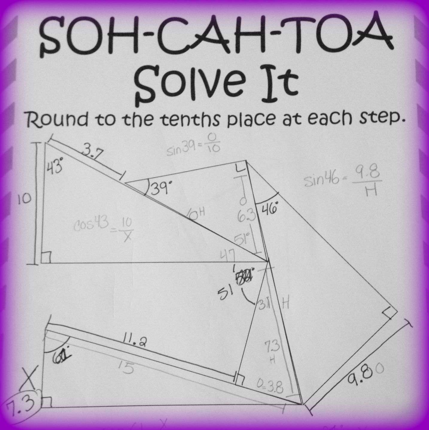 Worksheets Soh Cah Toa Worksheet soh cah toa solve it 3 sine cosine tangent puzzles geometry puzzle using and trigonometry ratios