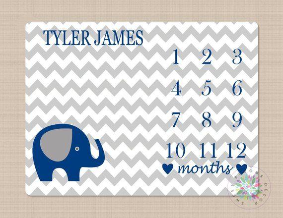 Elephant Milestone Blanket Monthly Growth Tracker Navy ...