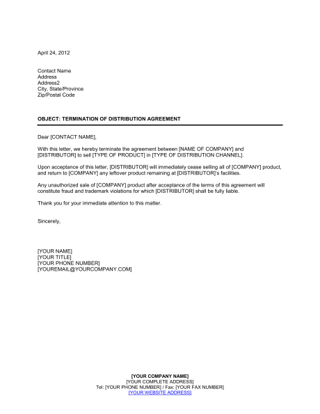 Attractive Printable Sample Contract Termination Letter Form