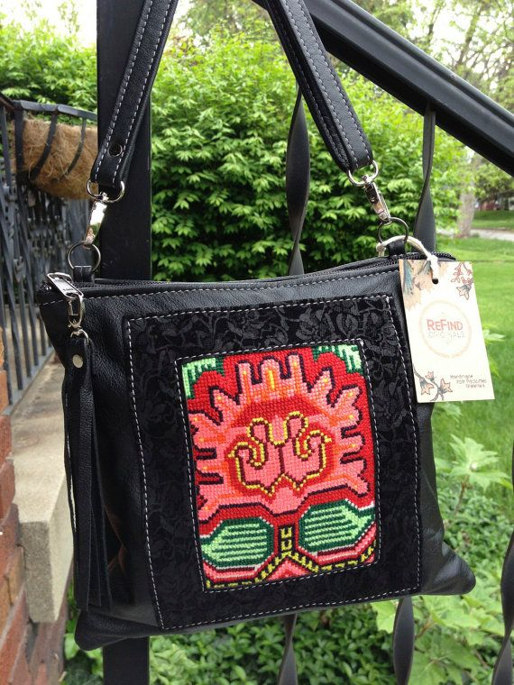 Black Cross Body with Tapestry Insert by refindoriginals on Etsy, $185.00