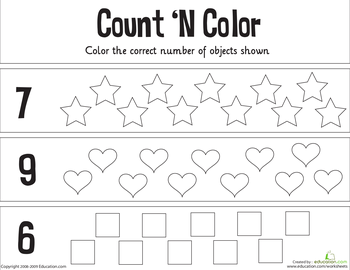 Worksheets Count N Color The Numbers