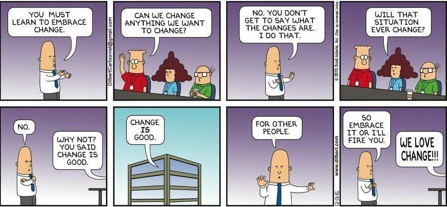 learn to embrace change change management comic